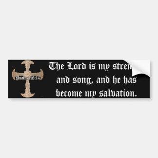 Psalm-118:14 - geätztes kupfernes Kreuz Autoaufkleber