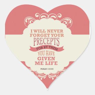 Psalm-119:93 vergesse ich nie Ihre Gebote. Herz-Aufkleber