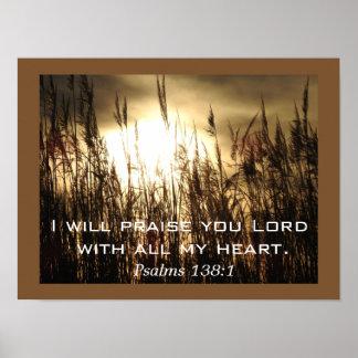 Psalm-138:1 _Plakat-Kunst Poster
