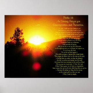 Psalm 141 mit hellem Sonnenuntergang über Bergen Poster