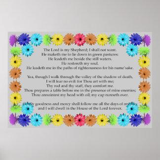 Psalm 23 in einer Regenbogen-Blumengrenze Poster