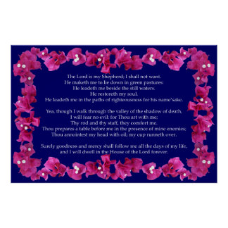 Psalm 23 mit Bouganvilla-Rahmen Poster