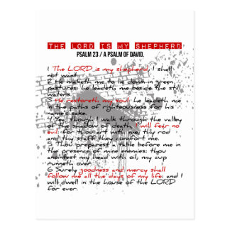 Psalm 23: Rote, schwarze, weiße Schmutz-Art Postkarte