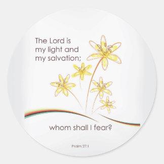 Psalm-27:1 ist der Lord mein Licht und meine Runder Aufkleber