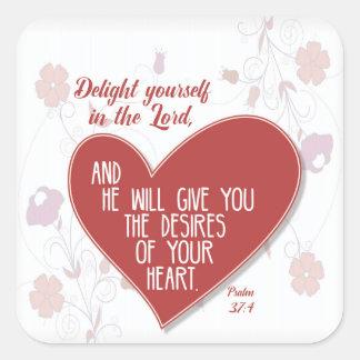 Psalm-37:4 Freude sich im Lord… Quadratischer Aufkleber