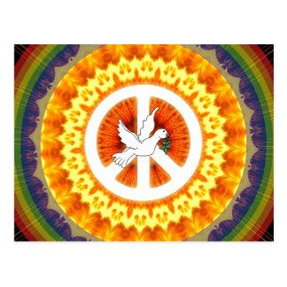 Psychedelische Friedenstaube Postkarte