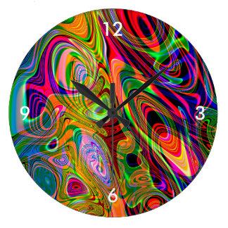 Psychedelische Leuchtstoff abstrakte Rotationen Große Wanduhr