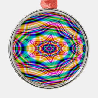 Psychedelische Wellen: Rundes Silberfarbenes Ornament