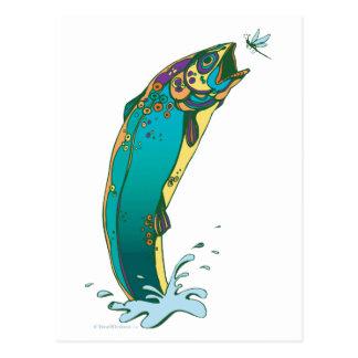 Psychedelisches Forelle-Fischen Postkarte