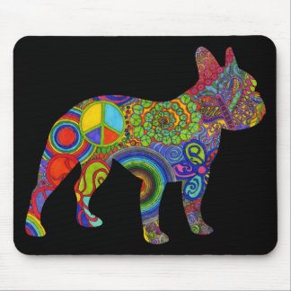 Psychedelisches Muster Mousepad Bostons Terrier
