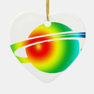 Psychedelisches Saturn Keramik Herz-Ornament