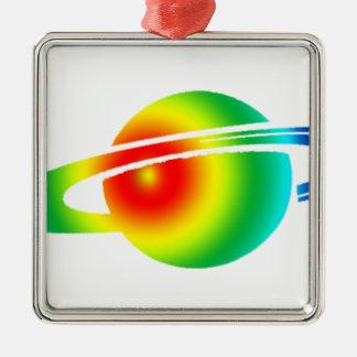 Psychedelisches Saturn Quadratisches Silberfarbenes Ornament