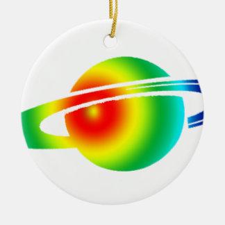 Psychedelisches Saturn Rundes Keramik Ornament