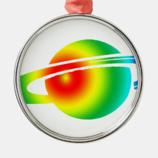 Psychedelisches Saturn Rundes Silberfarbenes Ornament