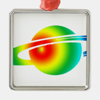 Psychedelisches Saturn Silbernes Ornament
