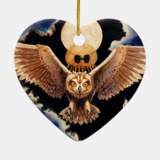 Pueo Sturm Keramik Herz-Ornament