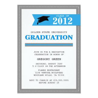 Pulver-Blau und graue Preppy Abschluss-Einladung 12,7 X 17,8 Cm Einladungskarte