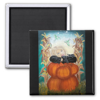 Punkin Stapel - Halloween, Kürbise, Hexe im Mond Quadratischer Magnet