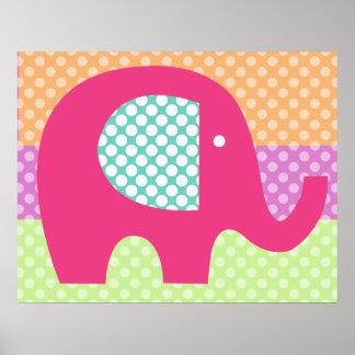 Punktiertes Elefant-Kinderzimmer-Plakat Poster