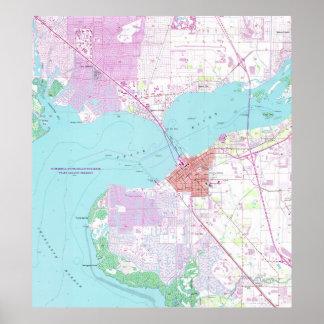 Punta Gorda u. Hafen Charlotte Florida Map (1957) Poster
