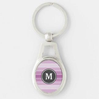 Puprle Ombre Monogramm Silberfarbener Oval Schlüsselanhänger