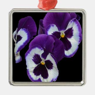 Purple_Pansy_Posy, _ Silbernes Ornament
