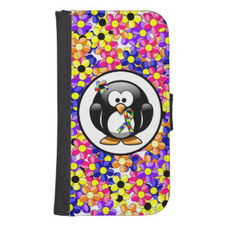 Puzzlespiel-Band-Pinguin Samsung S4 Geldbeutel Hülle