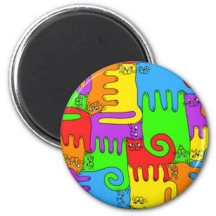 "Puzzlespiel-Katzen Magnet ""des Regenbogens"" 2 Runder Magnet 5,7 Cm"