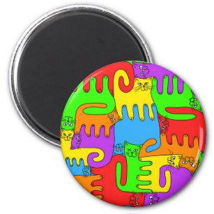 "Puzzlespiel-Katzen Magnet ""des Regenbogens"" 3 Runder Magnet 5,1 Cm"