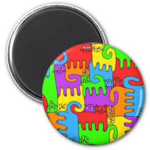 """Puzzlespiel-Katzen """"Regenbogen"""" 1 Magnet Runder Magnet 5,1 Cm"""