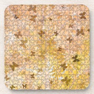 Puzzlespiel Schmetterlinge und Gänseblümchen-Braun Untersetzer