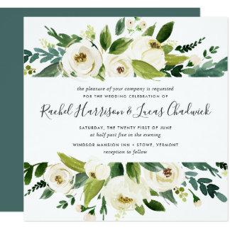 Quadrat der Alabaster-Blumenhochzeits-Einladungs-| Karte