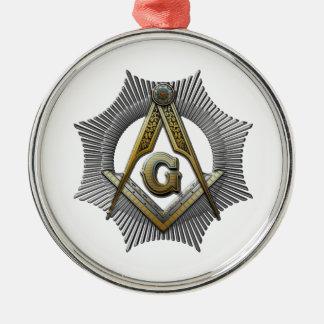 Quadrat u. Kompass Rundes Silberfarbenes Ornament