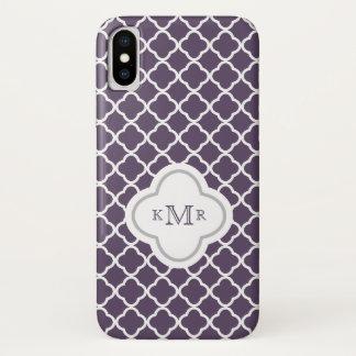 Quatrefoil Auberginen-schickes Muster-stilvolles iPhone X Hülle