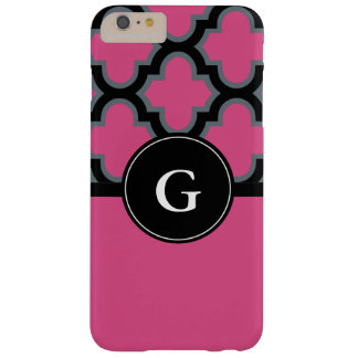 Quatrefoil Schwarz- und Pinkmonogrammentwurf Barely There iPhone 6 Plus Hülle