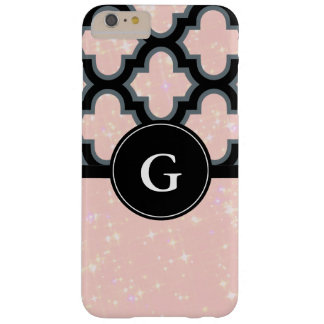 Quatrefoil schwarzes und rosa Glittermonogramm Barely There iPhone 6 Plus Hülle
