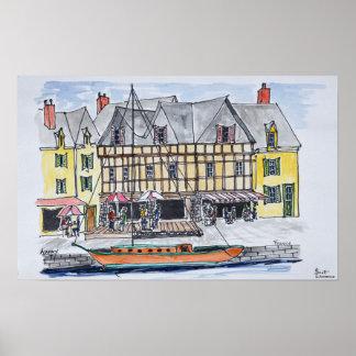 Quay Franklin, Heiliges-Goustan   Auray, Bretagne Poster