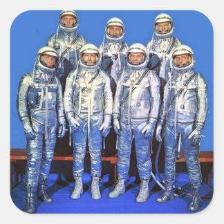 Quecksilber 7 Astronauten Quadratischer Aufkleber