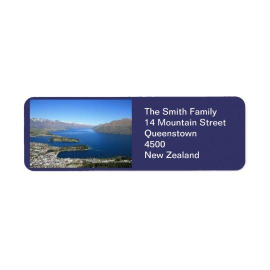 Queenstown NZ, kundengerechtes Adressen-Etikett