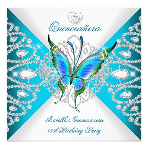 Quinceanera 15. tiefer aquamariner blauer ankündigungskarten