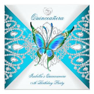 Quinceanera 15. tiefer aquamariner blauer quadratische 13,3 cm einladungskarte