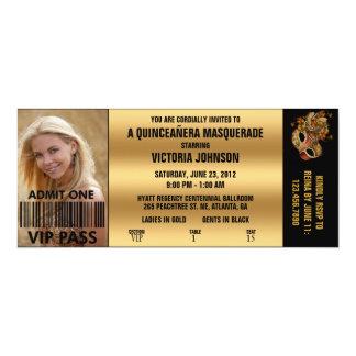 Quinceañera Maskerade VIP-Aufnahme-Karte 10,2 X 23,5 Cm Einladungskarte