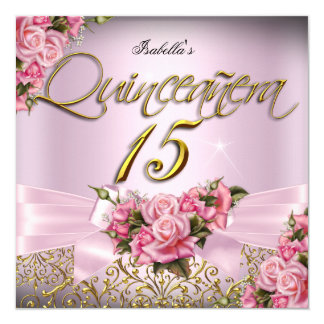 Quinceanera rosa Rosen-15. Geburtstags-Party Karte