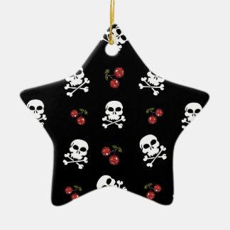 RAB Rockabilly Schädel und Kirschen auf Schwarzem Keramik Stern-Ornament