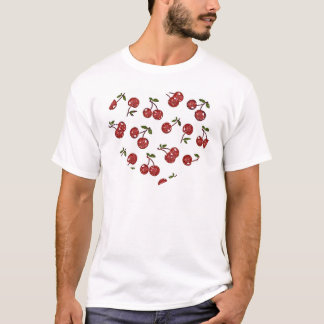 RAB Rockabilly sehr Kirschkirschen auf Weiß T-Shirt
