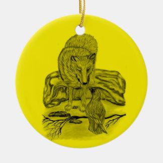 Rabe mit Wolf schwarz gelb Design Keramik Ornament