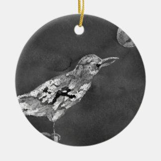 Rabe und Mond Keramik Ornament