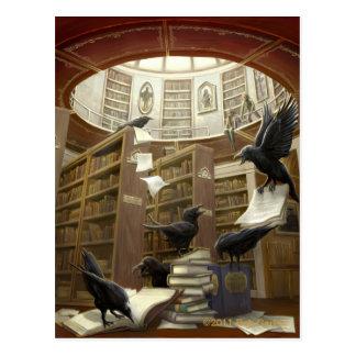 Raben in der Bibliotheks-Postkarte Postkarten