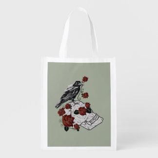Raben-und Schädel-Rosen-gotische Taschen-Tasche Wiederverwendbare Einkaufstasche
