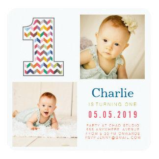 Rainbow Chevron 1st Birthday Photo Cards